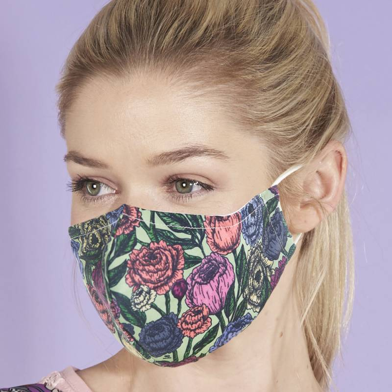 Eco Chic Reusable Face Cover Green Peony