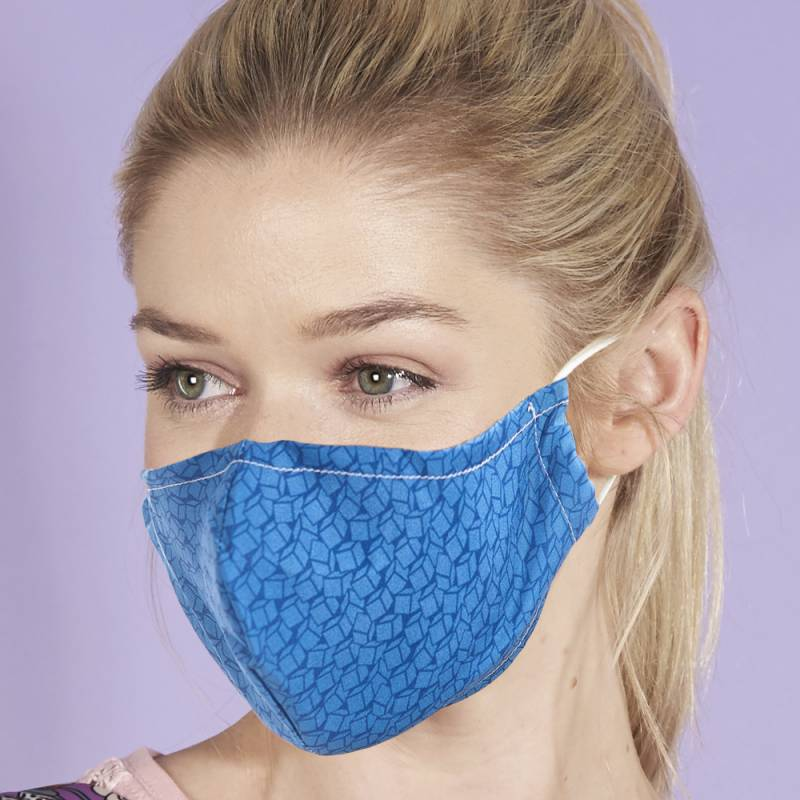 Eco Chic Reusable Face Cover Disrupted Blue Cubes