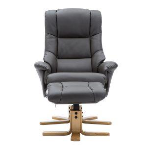 Bailey Swivel Chair & Stool - Faux Charcoal