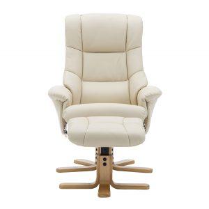 Bailey Swivel Chair & Stool - Faux Leather Bone