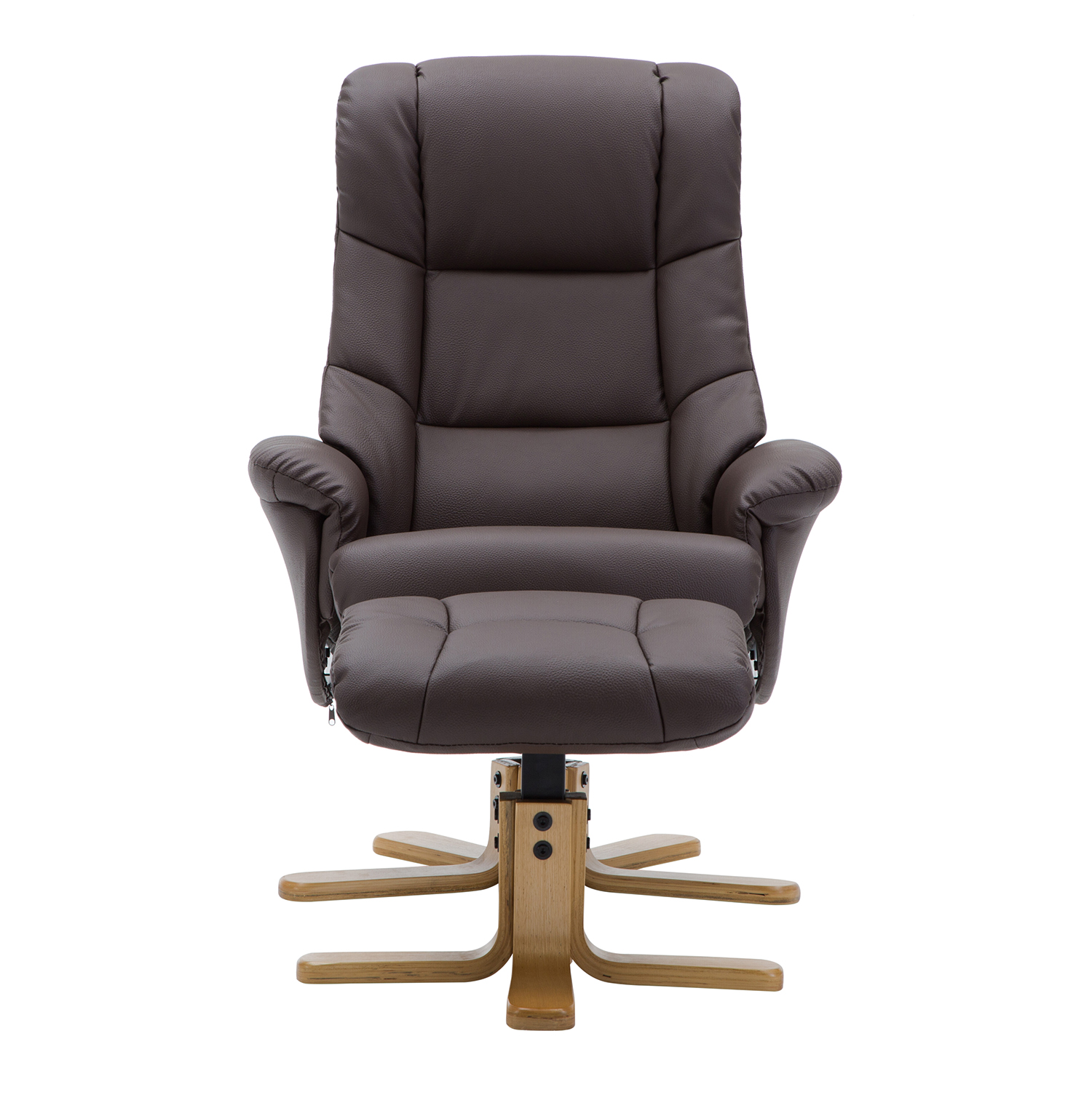 Bailey Swivel Chair & Stool - Faux Leather Brown