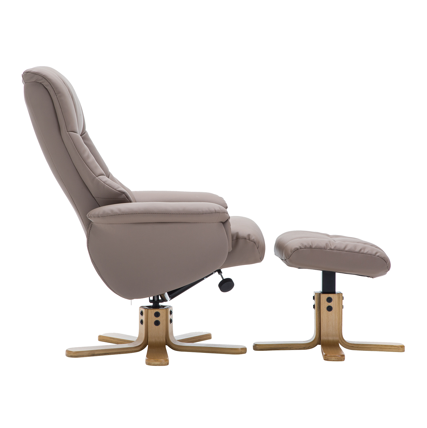 Bailey Swivel Chair & Stool - Faux Leather Earth
