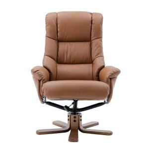 Bailey Swivel Chair & Stool - Faux Leather Tan