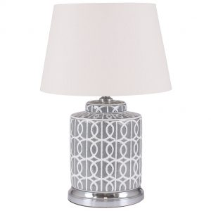 Small Grey & White Pattern Table Lamp