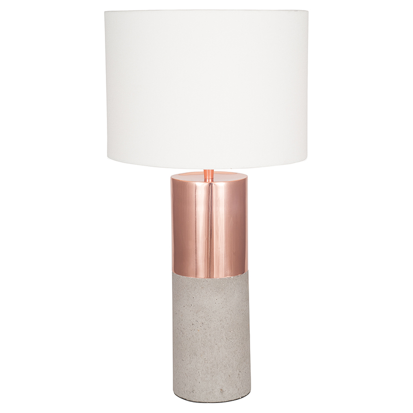 Copper Metal and Concrete Table Lamp