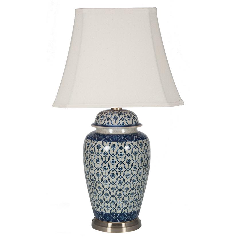 White Ceramic Ginger Jar Table Lamp, Blue And White Ginger Jar Lamps Uk