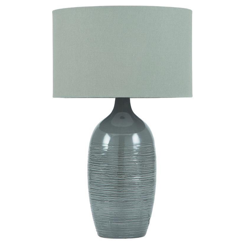 Etched Graphite Ceramic Table Lamp
