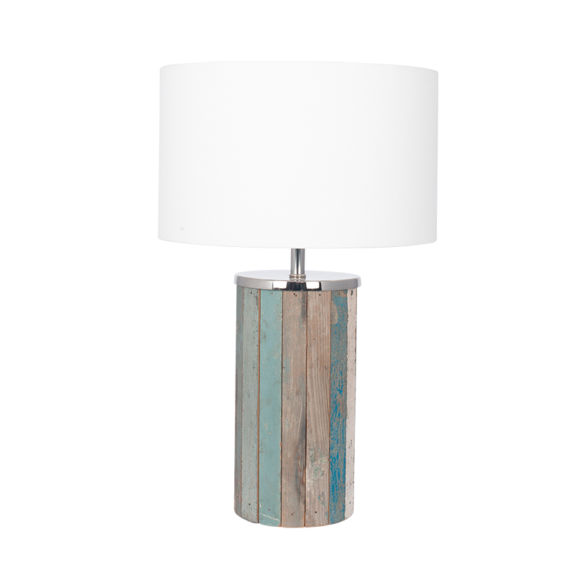 Distressed Wood Tall Table Lamp