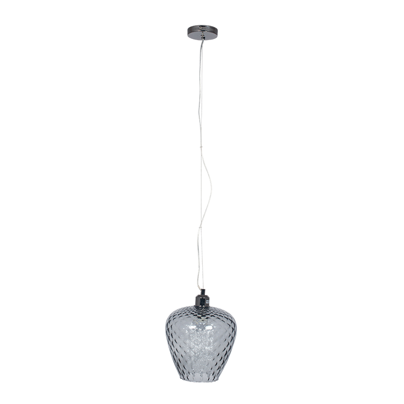 Textured Grey Coloured Glass Electrified Pendant