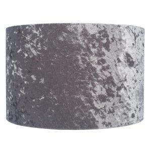 25cm Silver Crushed Velvet Cylinder Shade