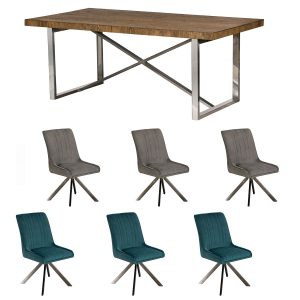 Ardèche Dining Set - Table & x3 Chloe Chairs in Teal and x3 Chloe Chairs in Grey