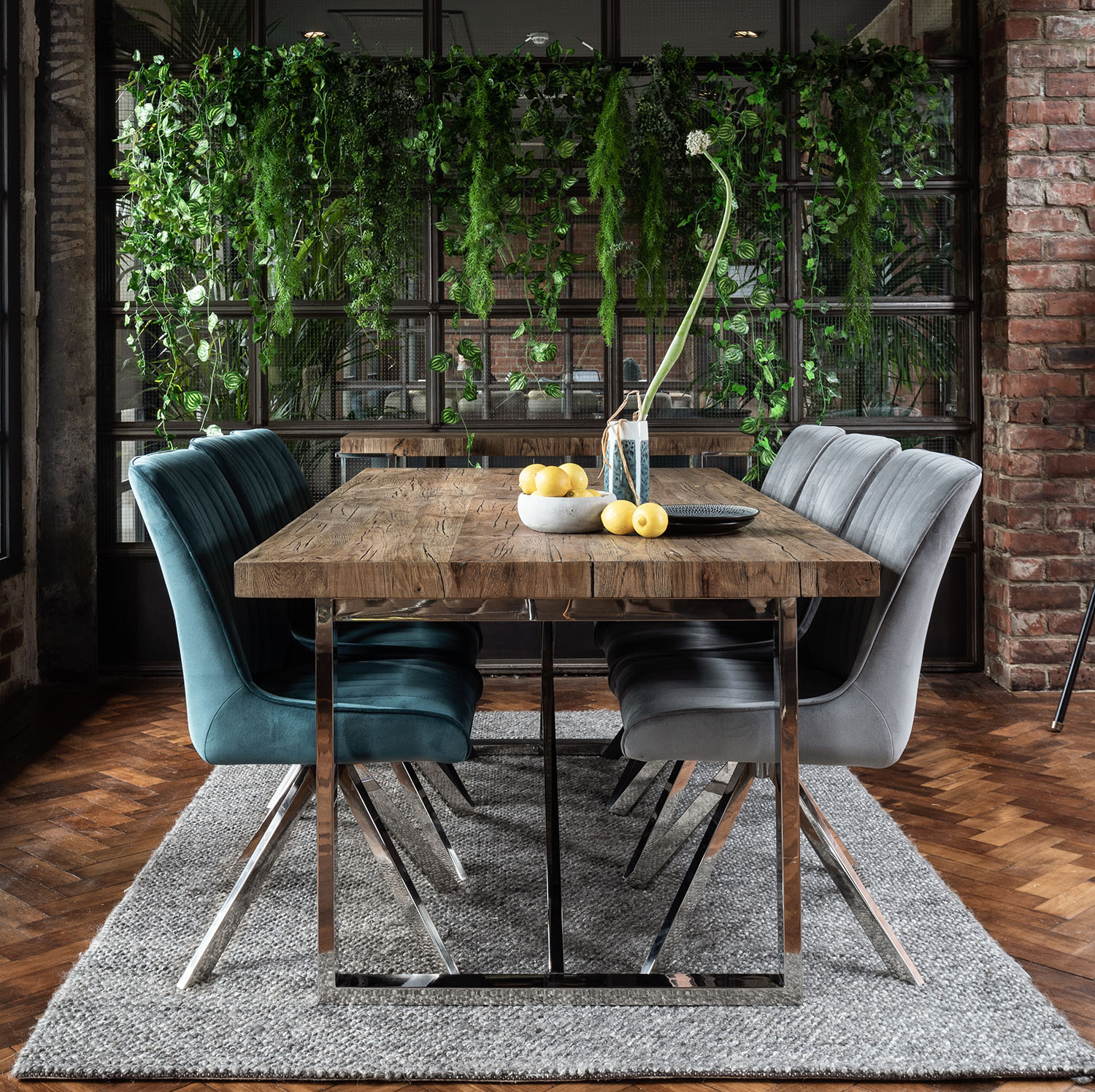 Ardeche Dining Set Table X3 Chloe Chairs In Teal And X3 Chloe Chairs In Grey Collingwood Batchellor