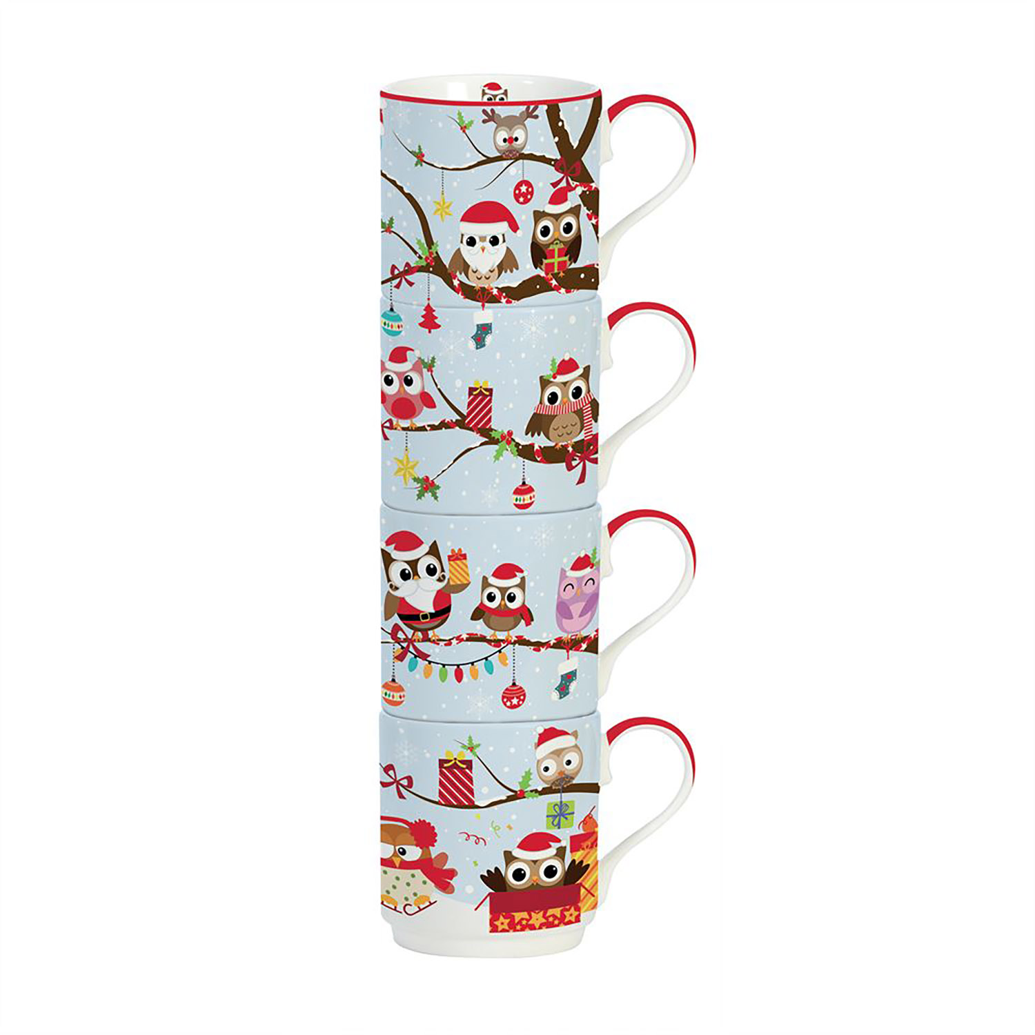 Stow Green Owl Family Stacking Mug Set of 4