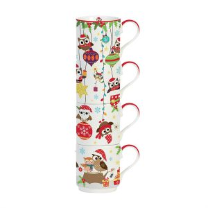 Stow Green Festive Owls Stacking Mug Set of 4