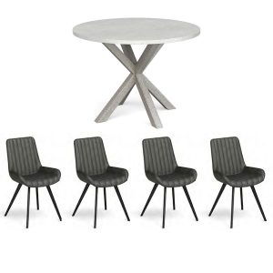Harbour Round Dining Table + x4 Dining Chair Set