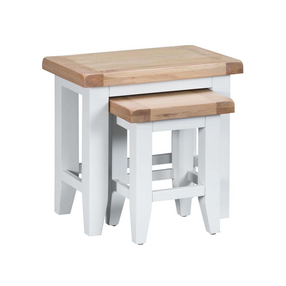 Henley White Nest of 2 Tables