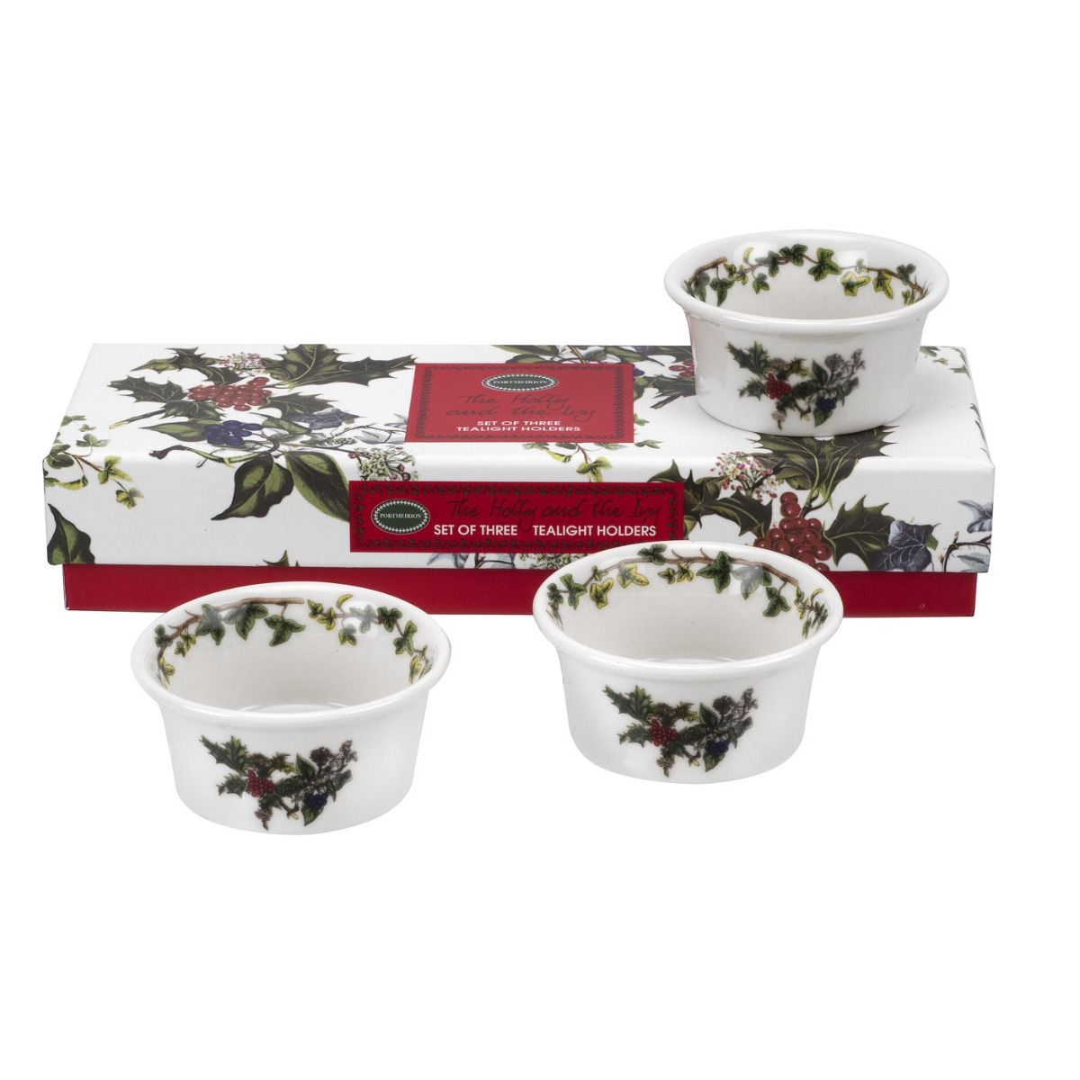 Portmeirion The Holly and The Ivy Tealight Holders Set of 3