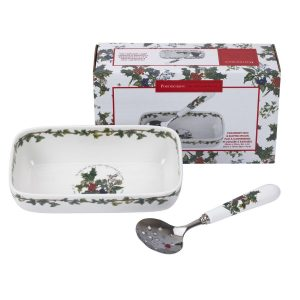 Portmeirion The Holly and the Ivy Cranberry Dish and Slotted Spoon