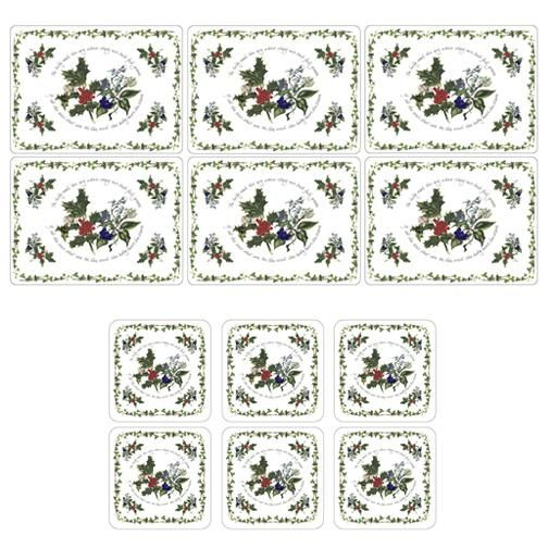 Pimpernel The Holly and The Ivy Set of 6 Placemats & Coasters