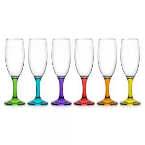 LAV Box of Coral Champagne Flute Glasses