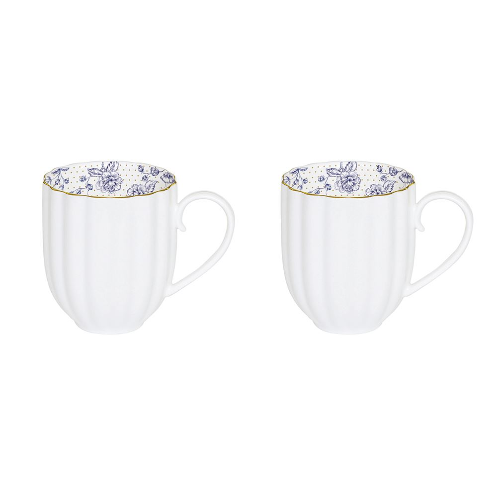 Blue Peonies Set of 2 Mugs 300ML