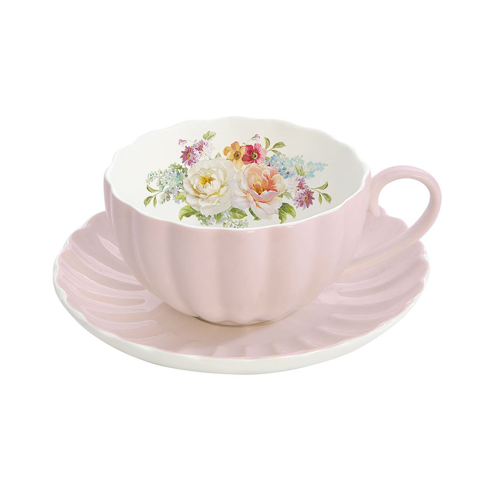 Jardin Royale Cup and Saucer Pink