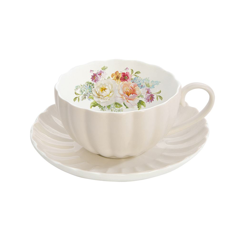 Jardin Royale Cup and Saucer Set Cream