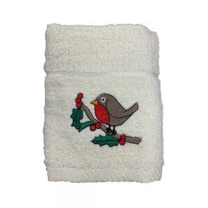 Xmas Kitchen Towel - Robin Cream