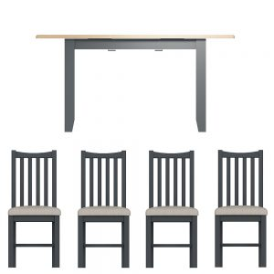 Hurstley Grey 1.2m Table and x4 Dining Chair Set