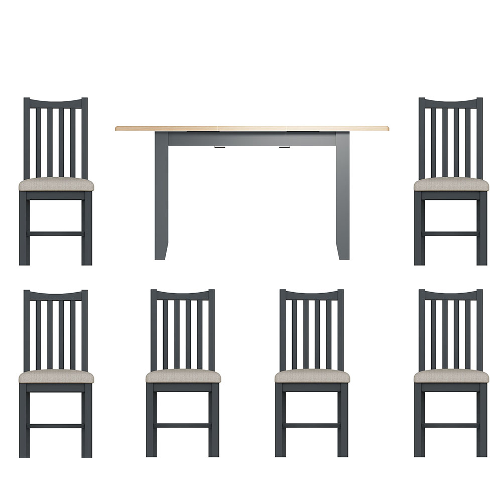 Hurstley Grey 1.2m Table and x6 Dining Chair Set