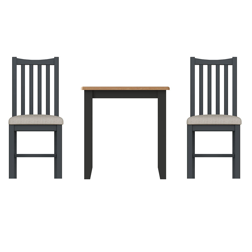 Hurstley Grey Fixed Top Table and x2 Dining Chair Set