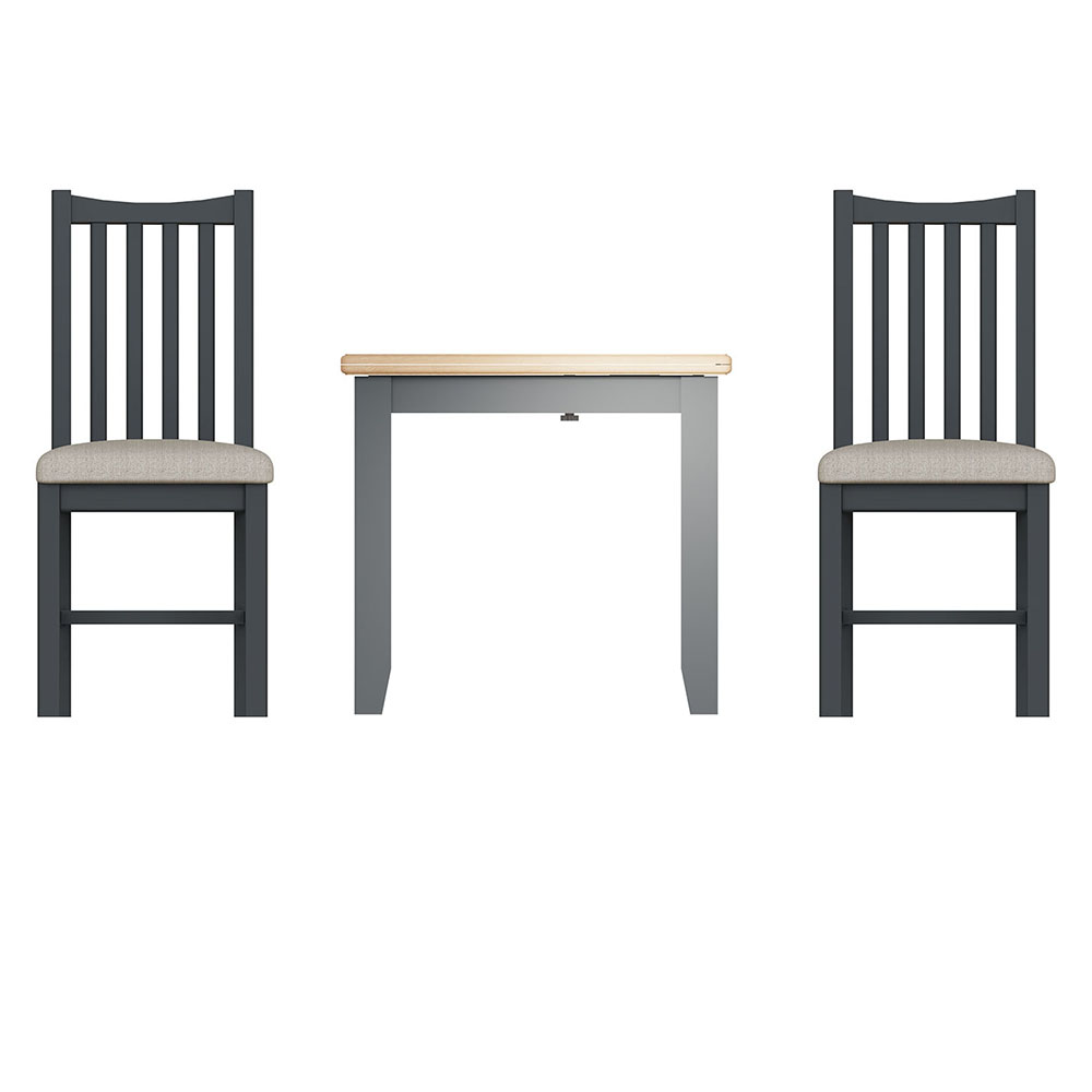Hurstley Grey Flip Top Table and x2 Chairs Dining Set