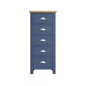 Childon Blue 5 Drawer Narrow Chest