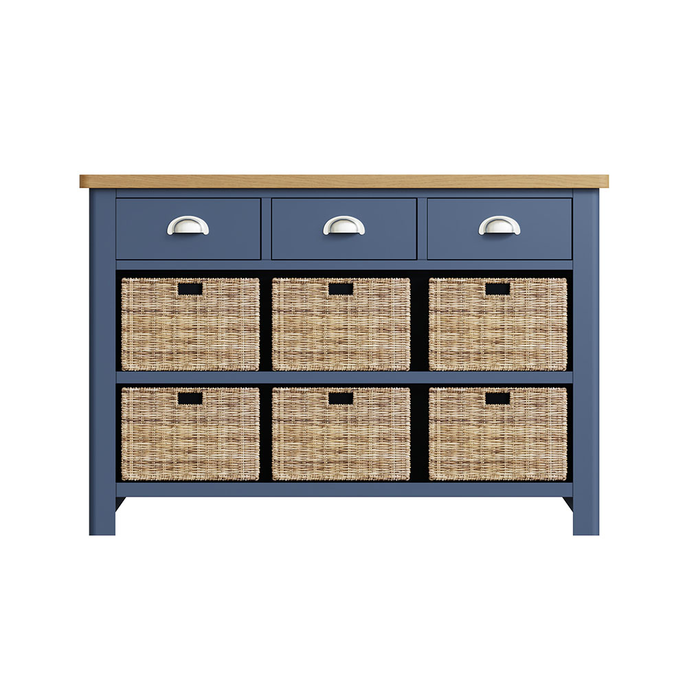 Childon Blue 3 Drawer 6 Basket Unit