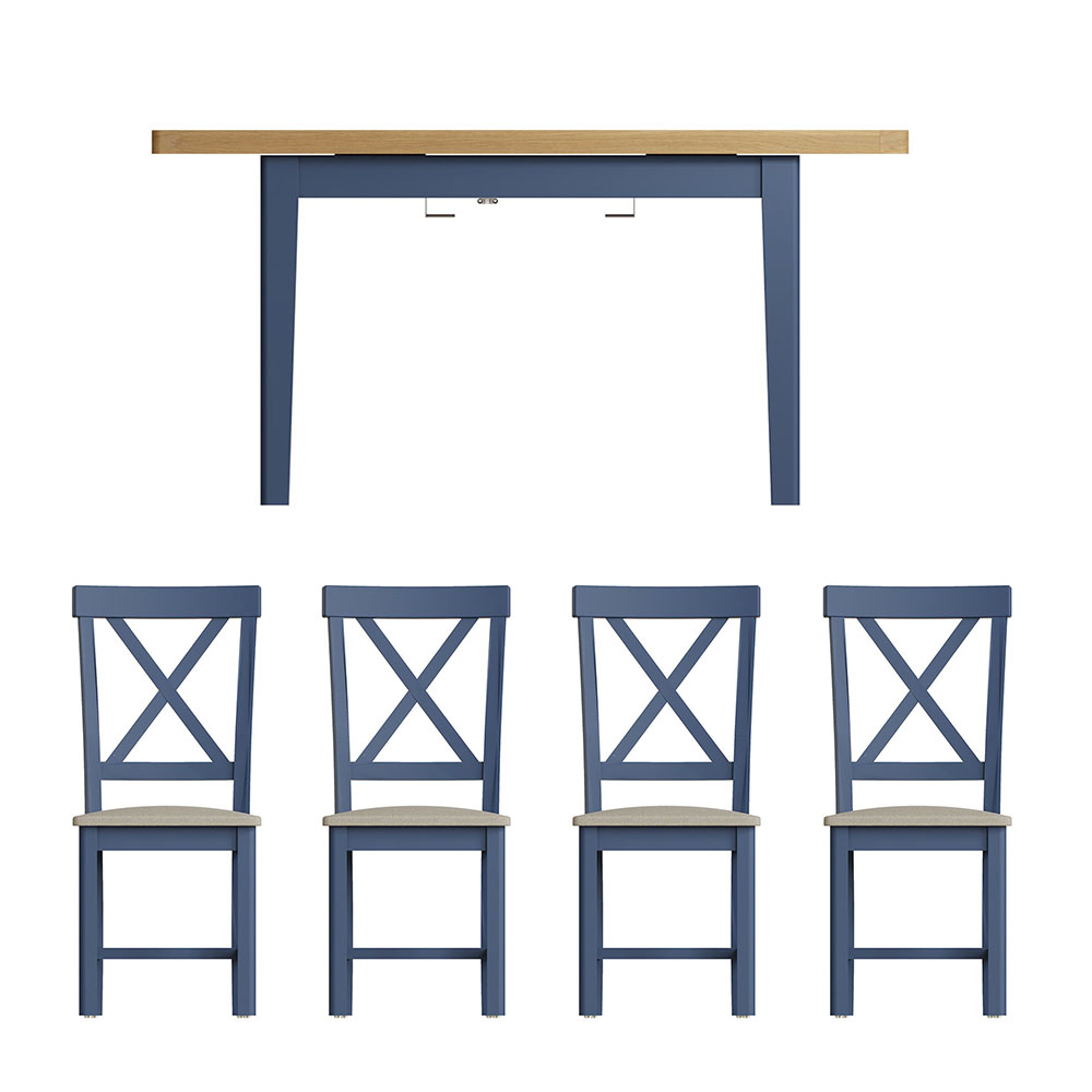 Childon Blue 1.2 Table and x4 Chairs Dining Set