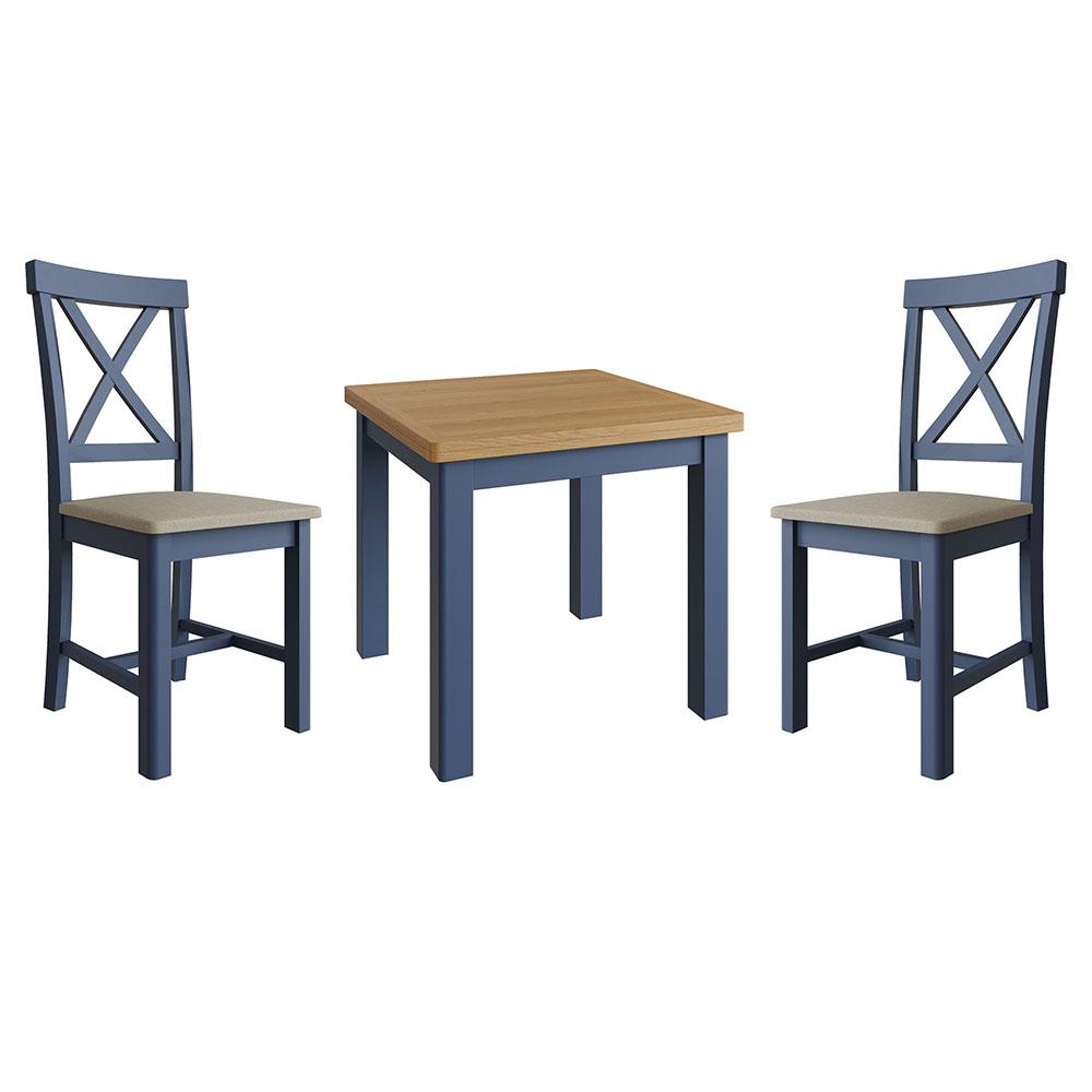 Childon Blue Fixed Top Table and x2 Chairs Set