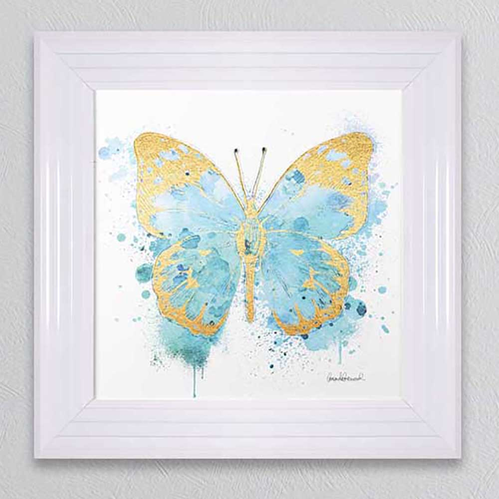 Butterfly Gold & Blue Picture 55x55