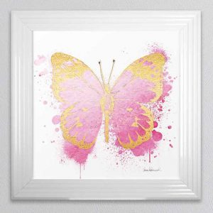Butterfly Gold & Pink Picture 55x55