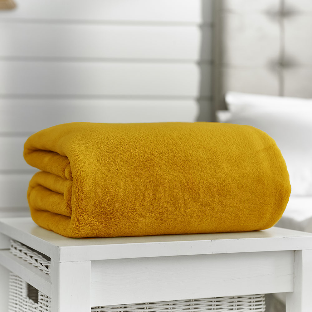 Deyongs Snuggle Touch Throw 200x240 Mustard