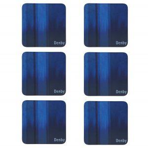 Denby Colours Set of 6 Coasters - Blue