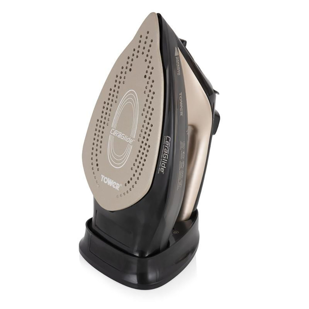 Tower Ceraglide Cord/Cordless Iron Black and Gold