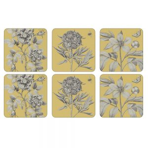 Pimpernel Etchings & Roses Yellow Coasters Set of 6