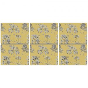 Pimpernel Etchings & Roses Yellow Placemats Set of 6