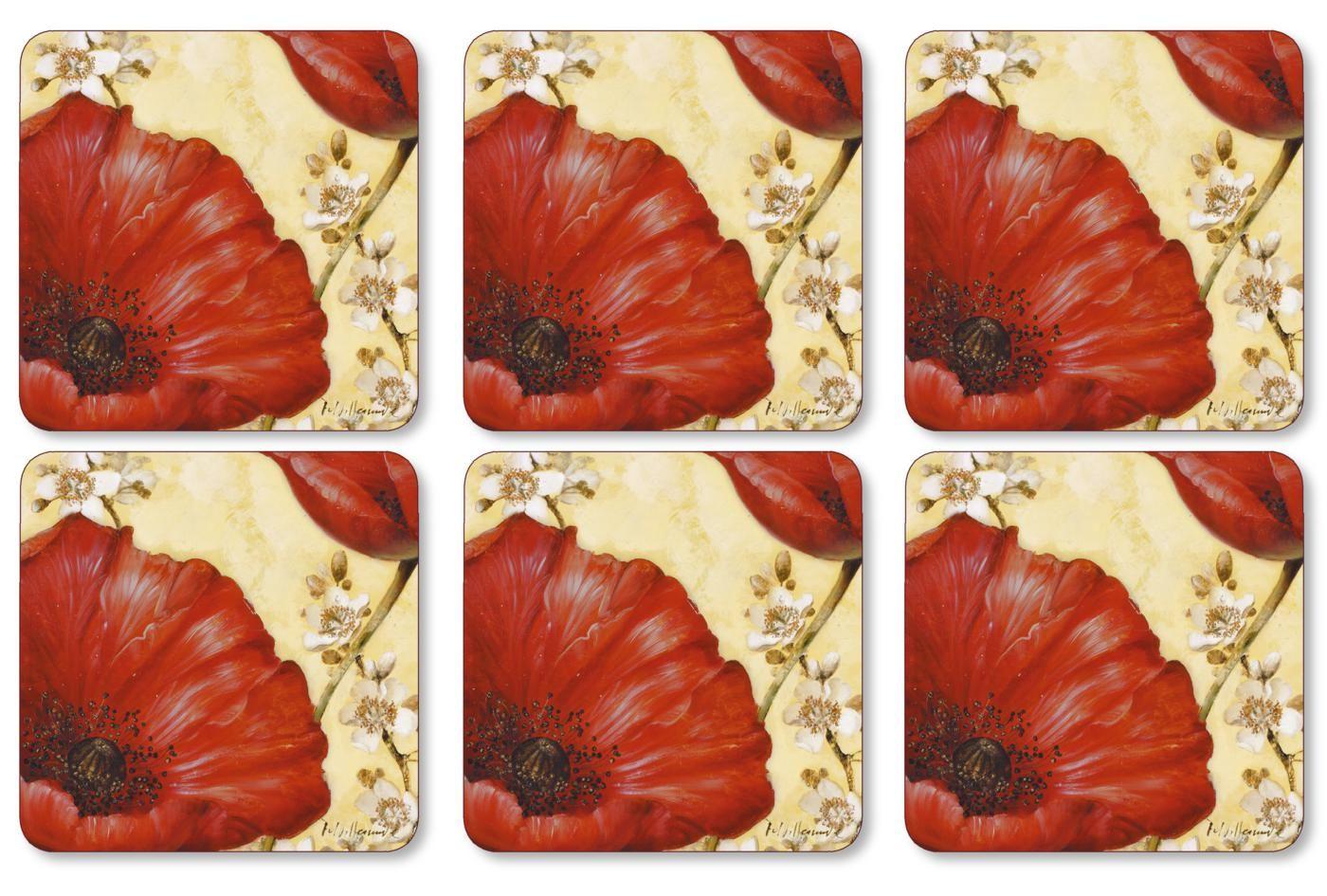 Pimpernel Poppy de Villeneuve Coasters Set of 6