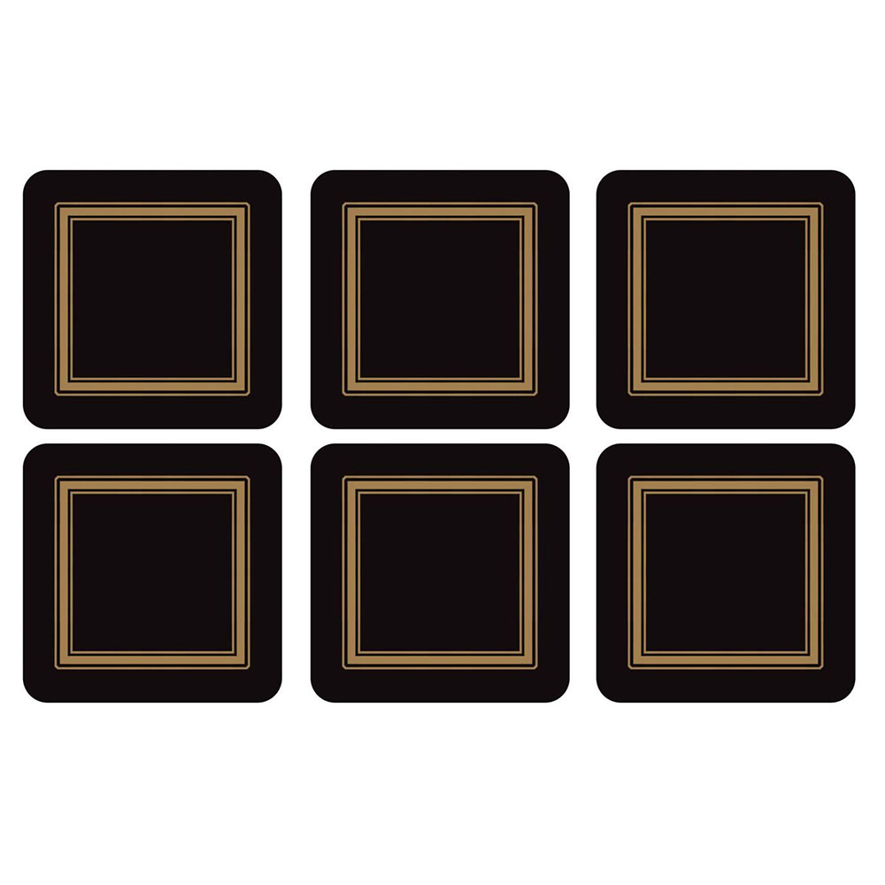 Pimpernel Classic Black Coasters Set of 6