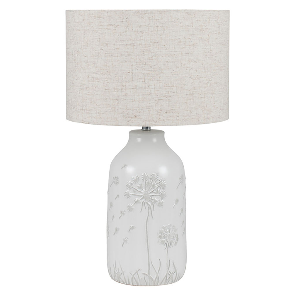 White Floral Ceramic Table Lamp