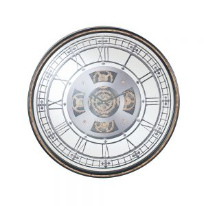 Antique Gold Wood Frame and Mirrored Round Cog Wall Clock