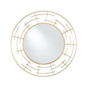 Gold Metal Frame Round Wall Mirror