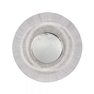 Silver Metal Wire Round Wall Mirror