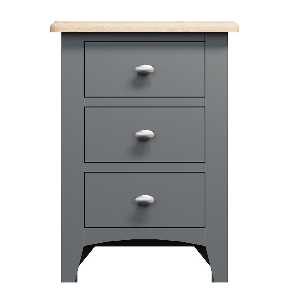Hurstley Grey 3 Drawer Bedside